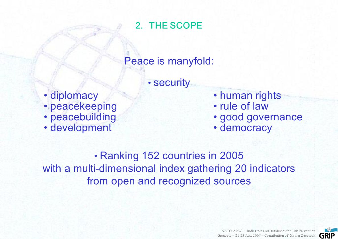2.THE SCOPE Peace is manyfold: diplomacy peacekeeping peacebuilding development human rights rule of law good governance democracy security Ranking 152 countries in 2005 with a multi-dimensional index gathering 20 indicators from open and recognized sources NATO ARW – Indicators and Databases for Risk Prevention Grenoble – 21-23 June 2007 – Contribution of Xavier Zeebroek