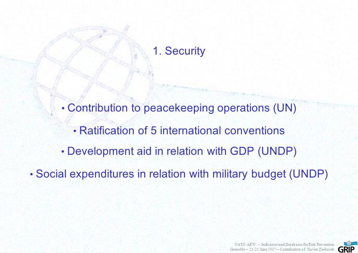 Ratification of 5 international conventions Contribution to peacekeeping operations (UN) 1. Security Development aid in relation with GDP (UNDP) Socia