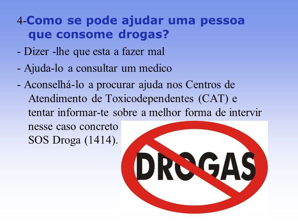 4- Como se pode ajudar uma pessoa que consome drogas.