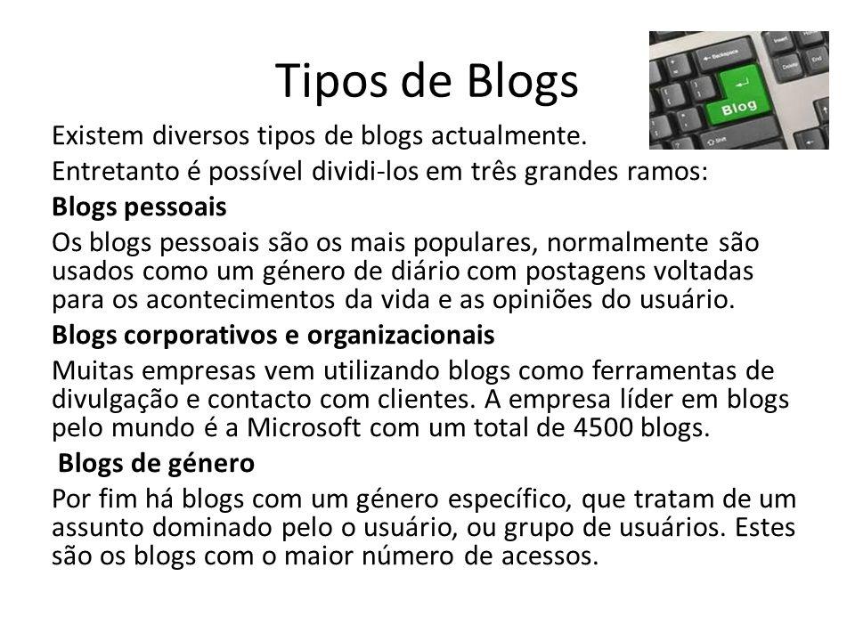 Tipos de Blogs Existem diversos tipos de blogs actualmente. Entretanto é possível dividi-los em três grandes ramos: Blogs pessoais Os blogs pessoais s