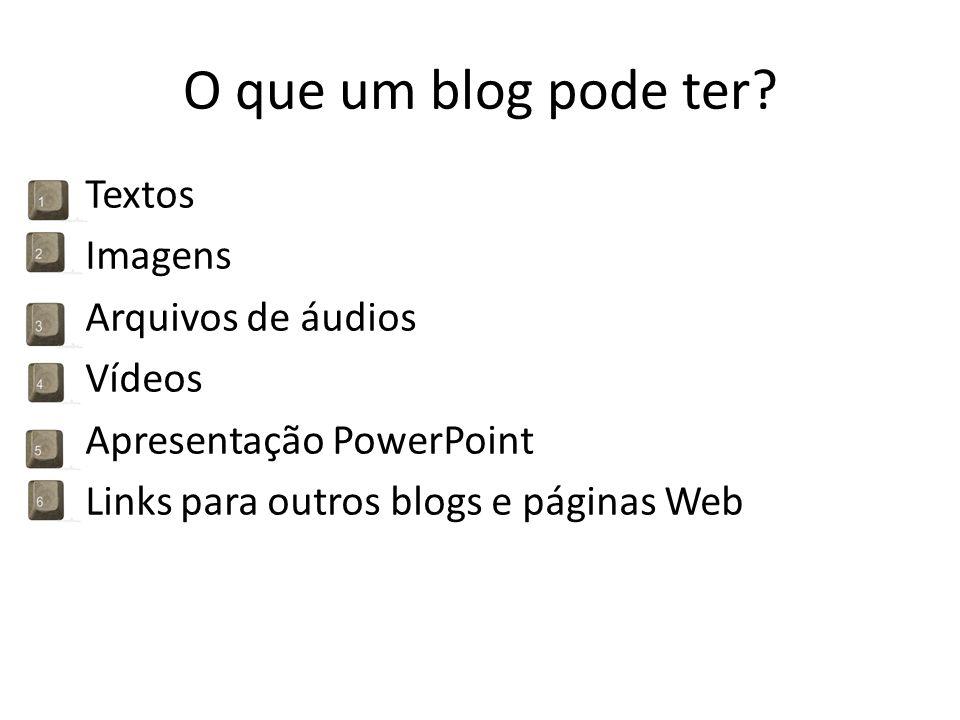 O que um blog pode ter? Textos Imagens Arquivos de áudios Vídeos Apresentação PowerPoint Links para outros blogs e páginas Web