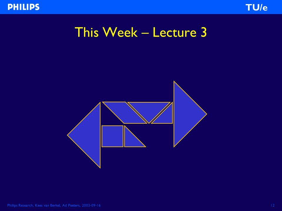 Philips Research, Kees van Berkel, Ad Peeters, 2003-09-1612 TU/e This Week – Lecture 3