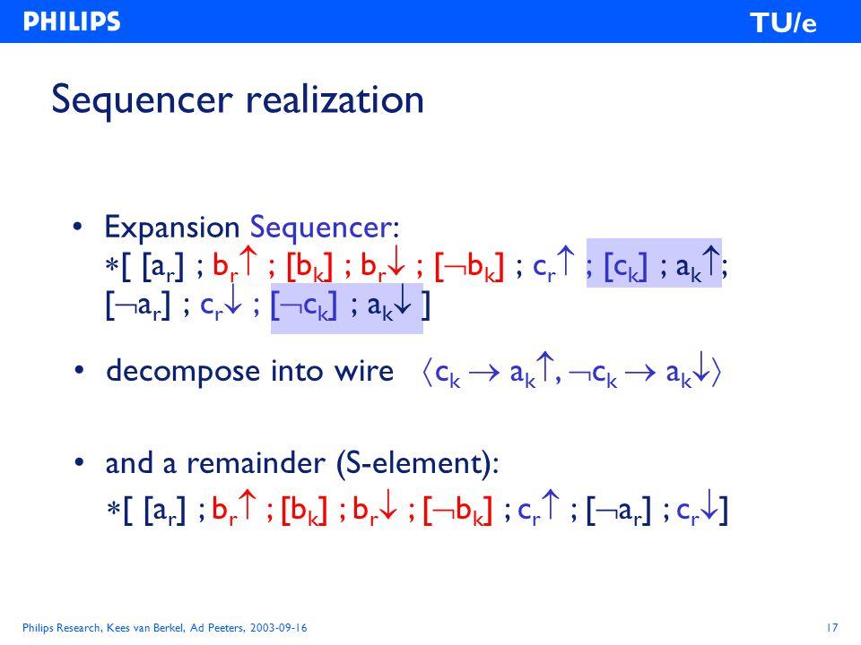 Philips Research, Kees van Berkel, Ad Peeters, 2003-09-1617 TU/e Expansion Sequencer:  [ [a r ] ; b r  ; [b k ] ; b r  ; [  b k ] ; c r  ; [c k ] ; a k  ; [  a r ] ; c r  ; [  c k ] ; a k  ] Sequencer realization decompose into wire  c k  a k ,  c k  a k  and a remainder (S-element):  [ [a r ] ; b r  ; [b k ] ; b r  ; [  b k ] ; c r  ; [  a r ] ; c r  ]