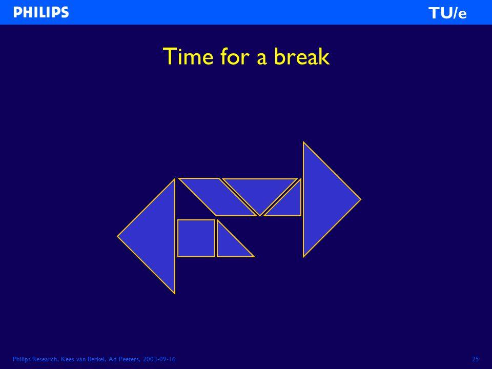 Philips Research, Kees van Berkel, Ad Peeters, 2003-09-1625 TU/e Time for a break