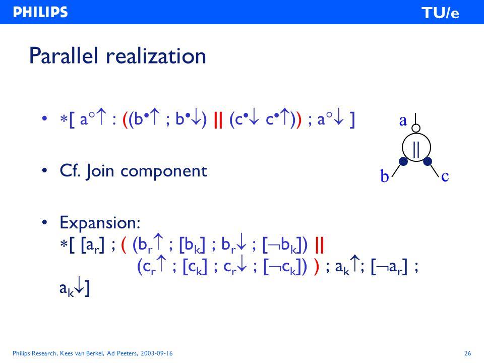 Philips Research, Kees van Berkel, Ad Peeters, 2003-09-1626 TU/e Parallel realization  [ a  : ((b   ; b   ) || (c   c   )) ; a  ] Cf.