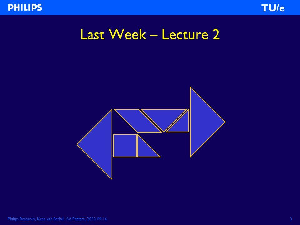 Philips Research, Kees van Berkel, Ad Peeters, 2003-09-163 TU/e Last Week – Lecture 2