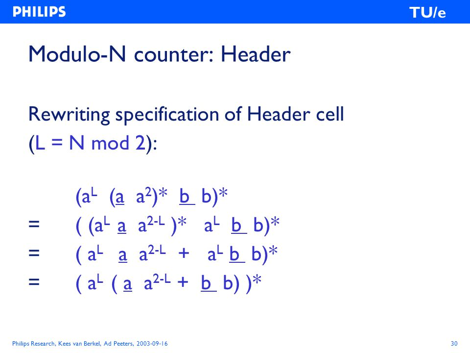 Philips Research, Kees van Berkel, Ad Peeters, 2003-09-1630 TU/e Modulo-N counter: Header Rewriting specification of Header cell (L = N mod 2): (a L (a a 2 )* b b)* = ( (a L a a 2-L )* a L b b)* = ( a L a a 2-L + a L b b)* = ( a L ( a a 2-L + b b) )*