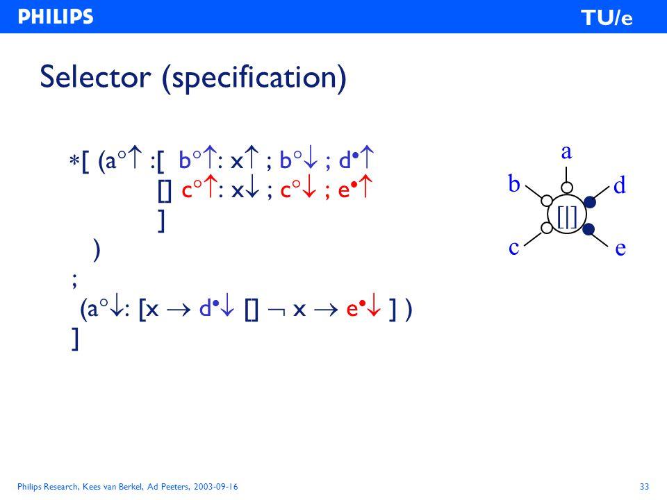 Philips Research, Kees van Berkel, Ad Peeters, 2003-09-1633 TU/e Selector (specification)  [ (a  :[ b  : x  ; b  ; d   [] c  : x  ; c  ; e   ] ) ; (a  : [x  d   []  x  e   ] ) ] a [|][|] c e d b