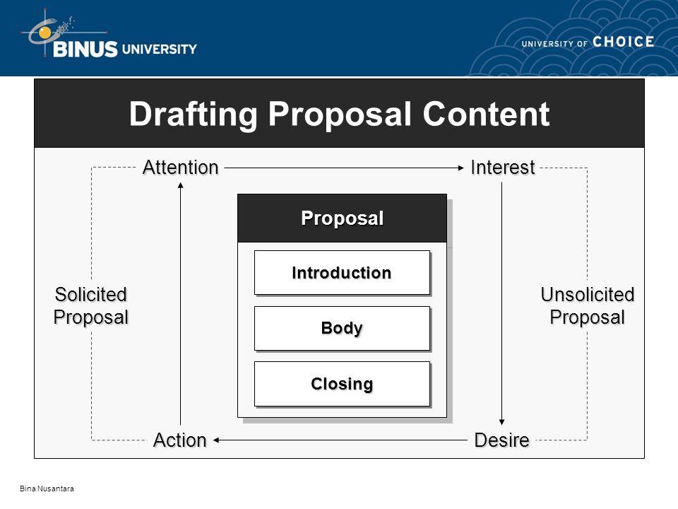 Bina Nusantara ProposalProposal Drafting Proposal Content IntroductionIntroduction BodyBody ClosingClosing AttentionInterest DesireAction SolicitedProposalUnsolicitedProposal