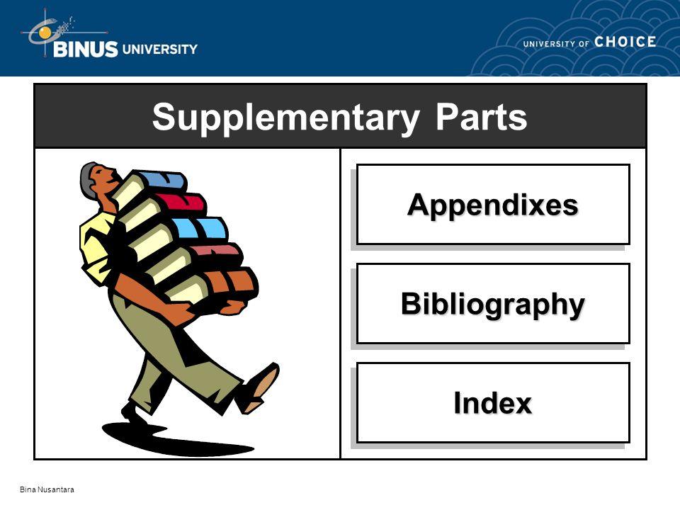 Bina Nusantara Supplementary Parts AppendixesAppendixes BibliographyBibliography IndexIndex