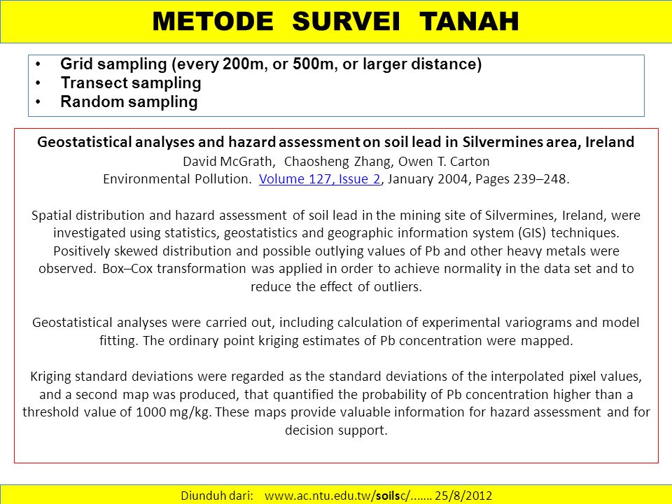 METODE SURVEI TANAH Grid sampling (every 200m, or 500m, or larger distance) Transect sampling Random sampling Diunduh dari: www.ac.ntu.edu.tw/soilsc/..…..