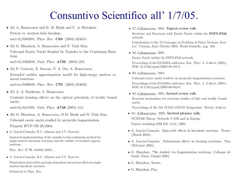 Consuntivo Scientifico all' 1/7/05.