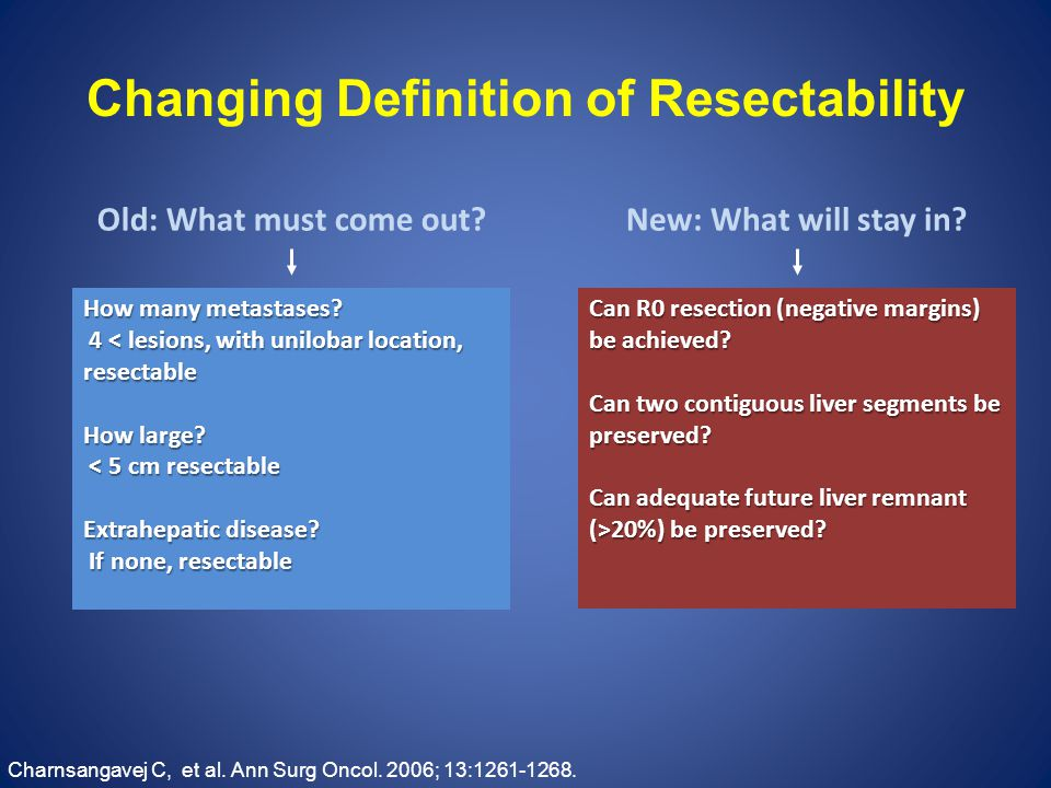 Changing Definition of Resectability How many metastases.