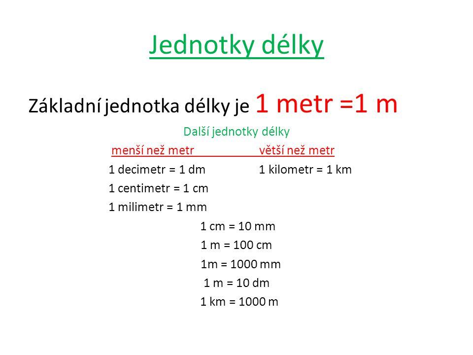 Jednotky délky Základní jednotka délky je 1 metr =1 m Další jednotky délky menší než metr větší než metr 1 decimetr = 1 dm 1 kilometr = 1 km 1 centimetr = 1 cm 1 milimetr = 1 mm 1 cm = 10 mm 1 m = 100 cm 1m = 1000 mm 1 m = 10 dm 1 km = 1000 m