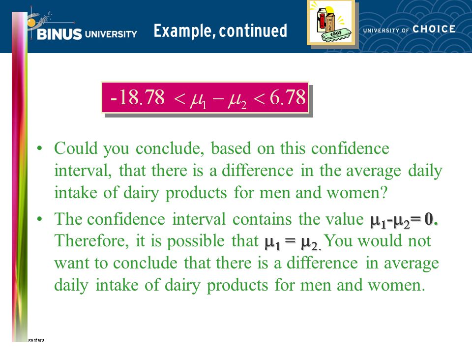Bina Nusantara Example, continued Could you conclude, based on this confidence interval, that there is a difference in the average daily intake of dairy products for men and women.