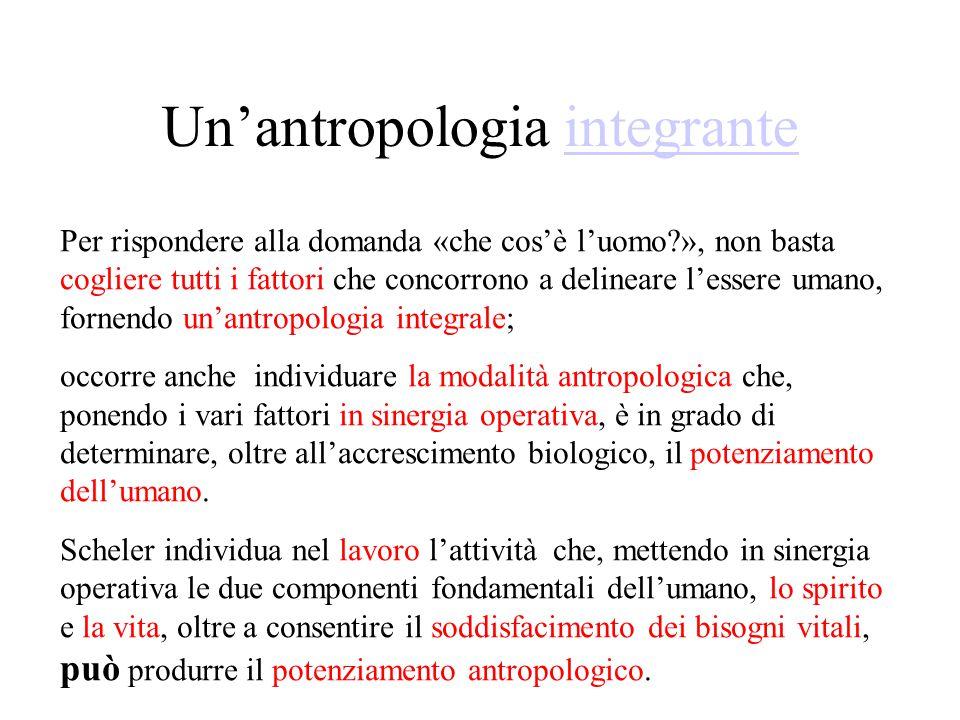 Un'antropologia integranteintegrante Per rispondere alla domanda «che cos'è l'uomo », non basta cogliere tutti i fattori che concorrono a delineare l'essere umano, fornendo un'antropologia integrale; occorre anche individuare la modalità antropologica che, ponendo i vari fattori in sinergia operativa, è in grado di determinare, oltre all'accrescimento biologico, il potenziamento dell'umano.