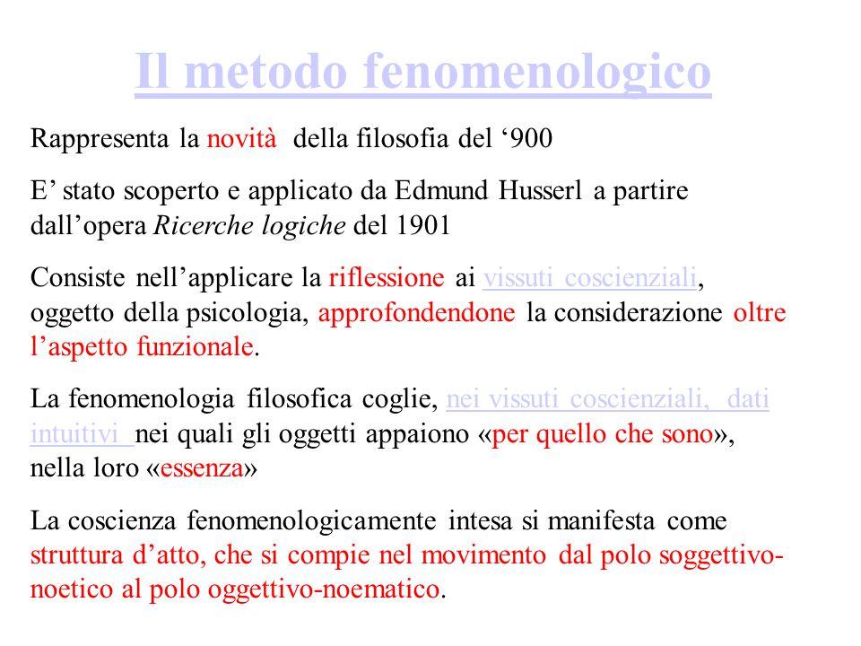 Il metodo fenomenologico Rappresenta la novità della filosofia del '900 E' stato scoperto e applicato da Edmund Husserl a partire dall'opera Ricerche logiche del 1901 Consiste nell'applicare la riflessione ai vissuti coscienziali, oggetto della psicologia, approfondendone la considerazione oltre l'aspetto funzionale.vissuti coscienziali La fenomenologia filosofica coglie, nei vissuti coscienziali, dati intuitivi nei quali gli oggetti appaiono «per quello che sono», nella loro «essenza»nei vissuti coscienziali, dati intuitivi La coscienza fenomenologicamente intesa si manifesta come struttura d'atto, che si compie nel movimento dal polo soggettivo- noetico al polo oggettivo-noematico.