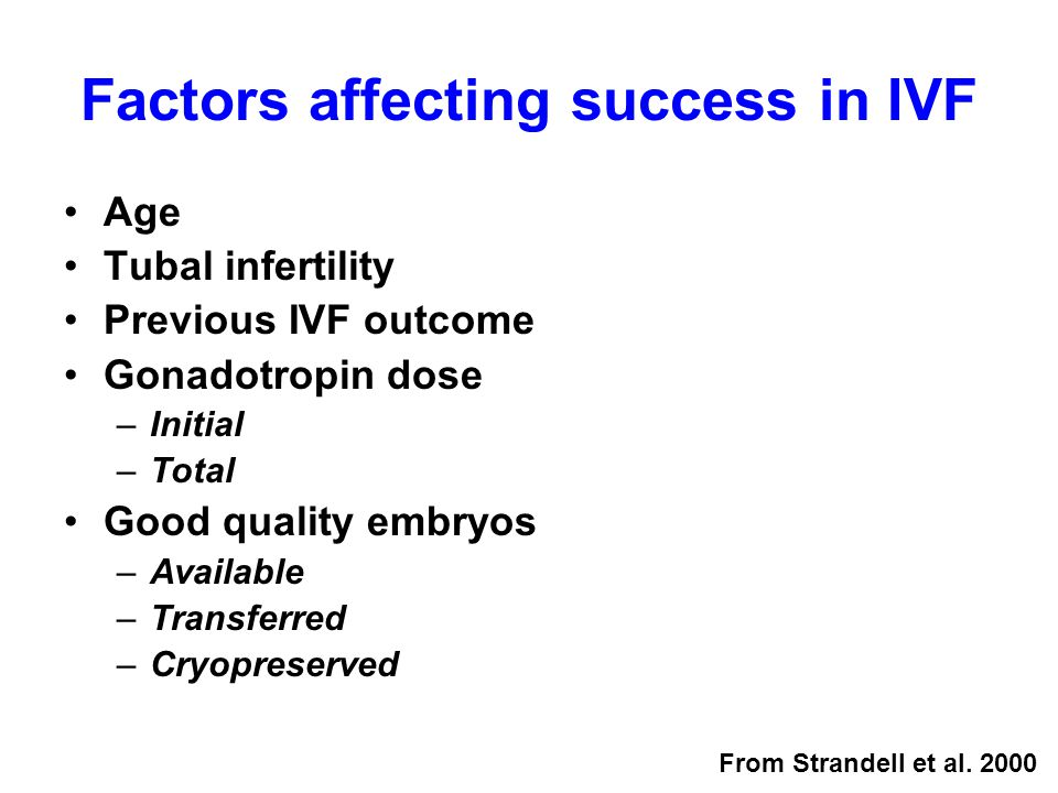 Factors affecting success in IVF Age Tubal infertility Previous IVF outcome Gonadotropin dose –Initial –Total Good quality embryos –Available –Transferred –Cryopreserved From Strandell et al.