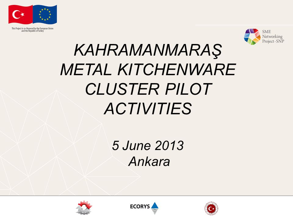 KAHRAMANMARAŞ METAL KITCHENWARE CLUSTER PILOT ACTIVITIES 5 June 2013 Ankara