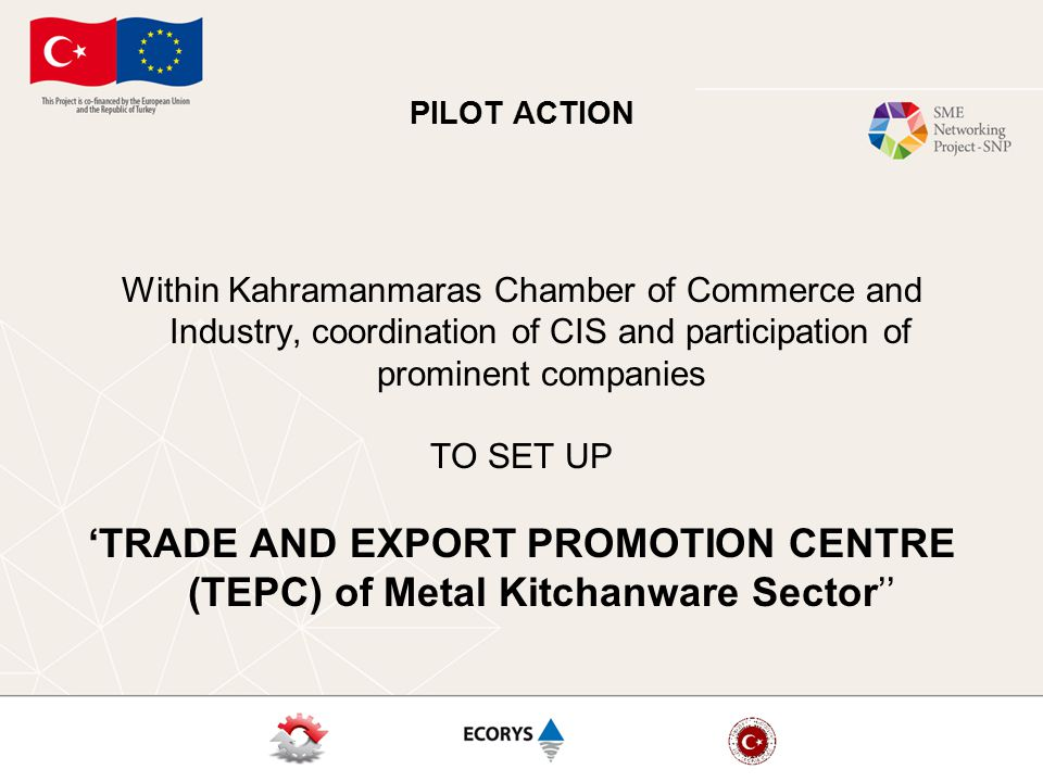 PILOT ACTION Within Kahramanmaras Chamber of Commerce and Industry, coordination of CIS and participation of prominent companies TO SET UP 'TRADE AND EXPORT PROMOTION CENTRE (TEPC) of Metal Kitchanware Sector''