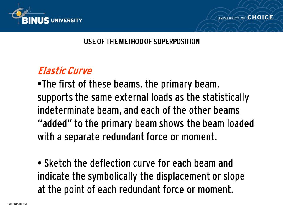 Bina Nusantara USE OF THE METHOD OF SUPERPOSITION Elastic Curve The first of these beams, the primary beam, supports the same external loads as the statistically indeterminate beam, and each of the other beams added to the primary beam shows the beam loaded with a separate redundant force or moment.