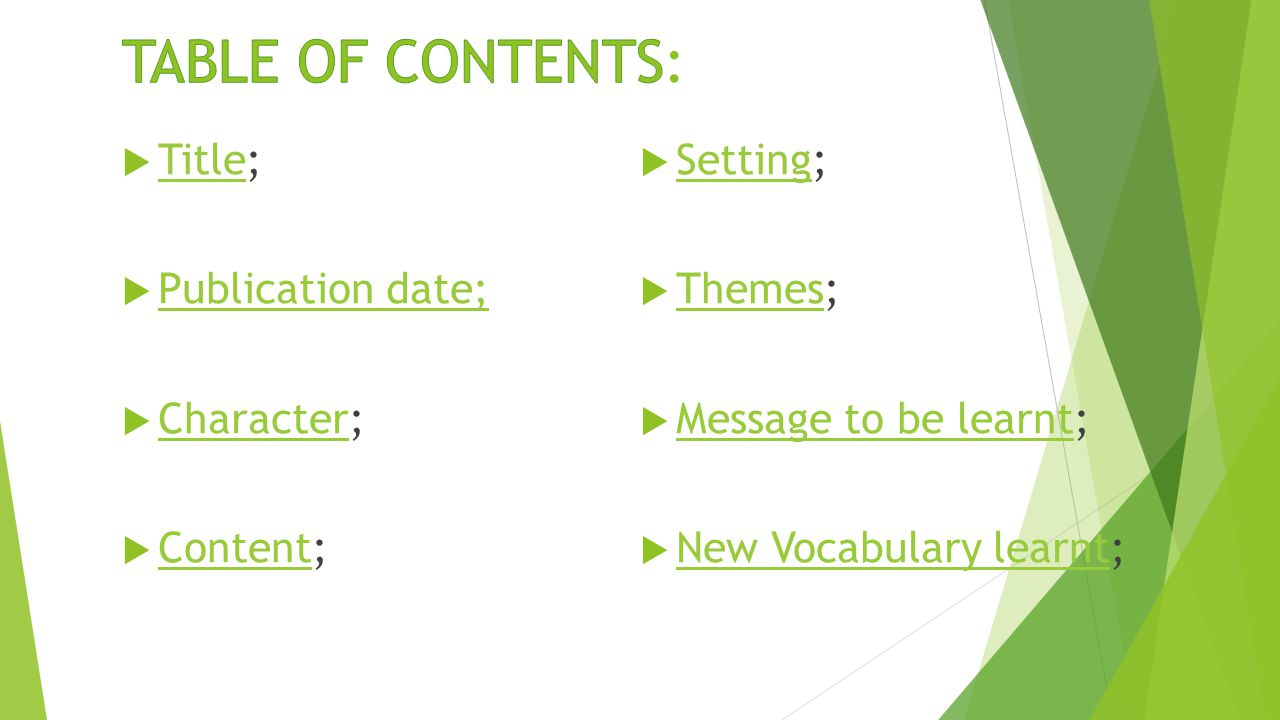 Title; Title  Publication date; Publication date;  Character; Character  Content; Content  Setting; Setting  Themes; Themes  Message to be learnt; Message to be learnt  New Vocabulary learnt; New Vocabulary learnt