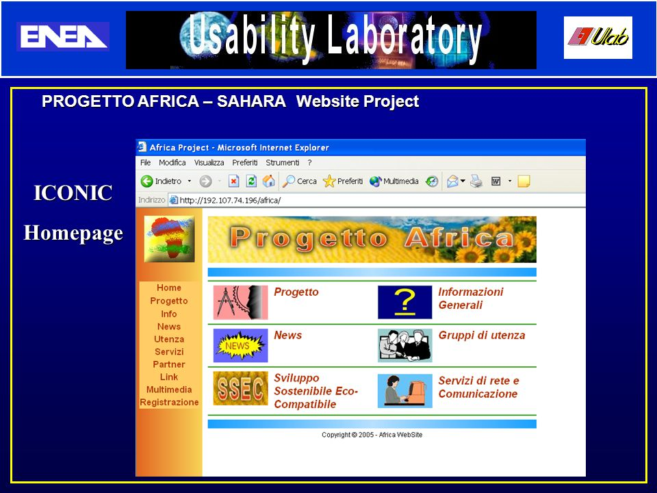 PROGETTO AFRICA – SAHARA Website Project ICONICHomepage