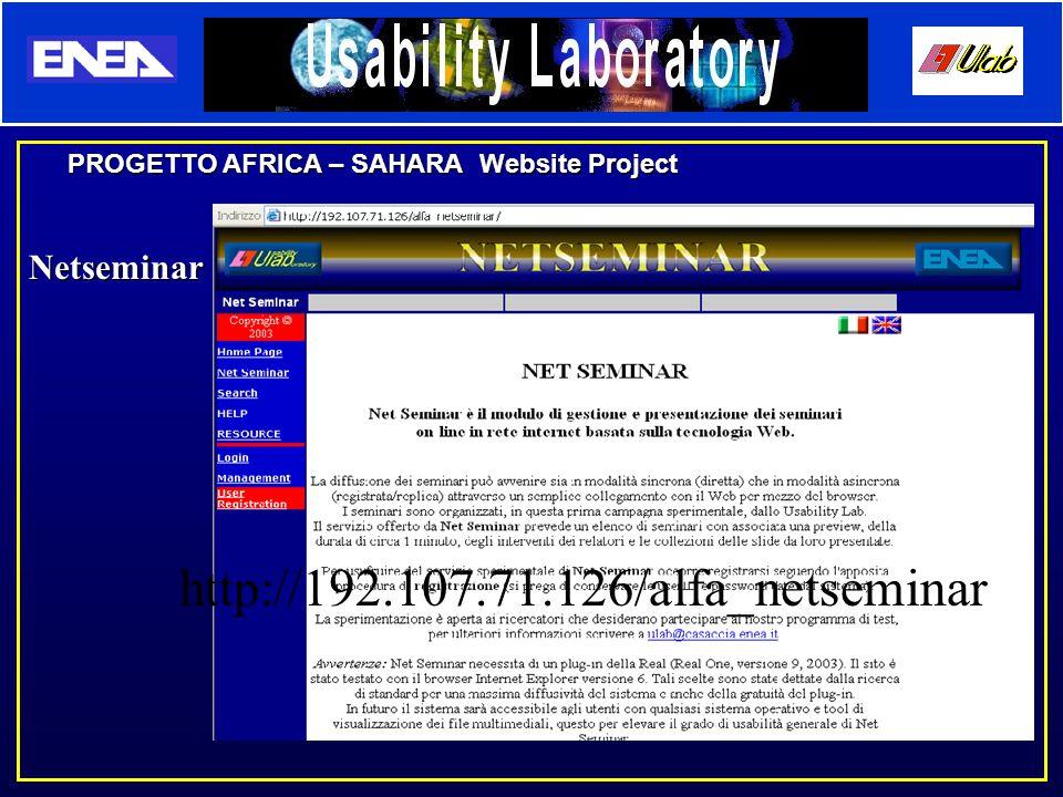 PROGETTO AFRICA – SAHARA Website Project Netseminar http://192.107.71.126/alfa_netseminar