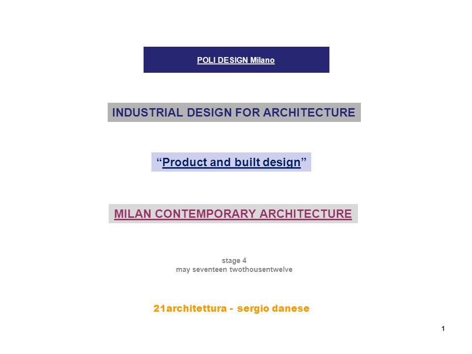 21architettura - s ergio danese 1 POLI DESIGN Milano INDUSTRIAL DESIGN FOR ARCHITECTURE Product and built design stage 4 may seventeen twothousentwelve MILAN CONTEMPORARY ARCHITECTURE