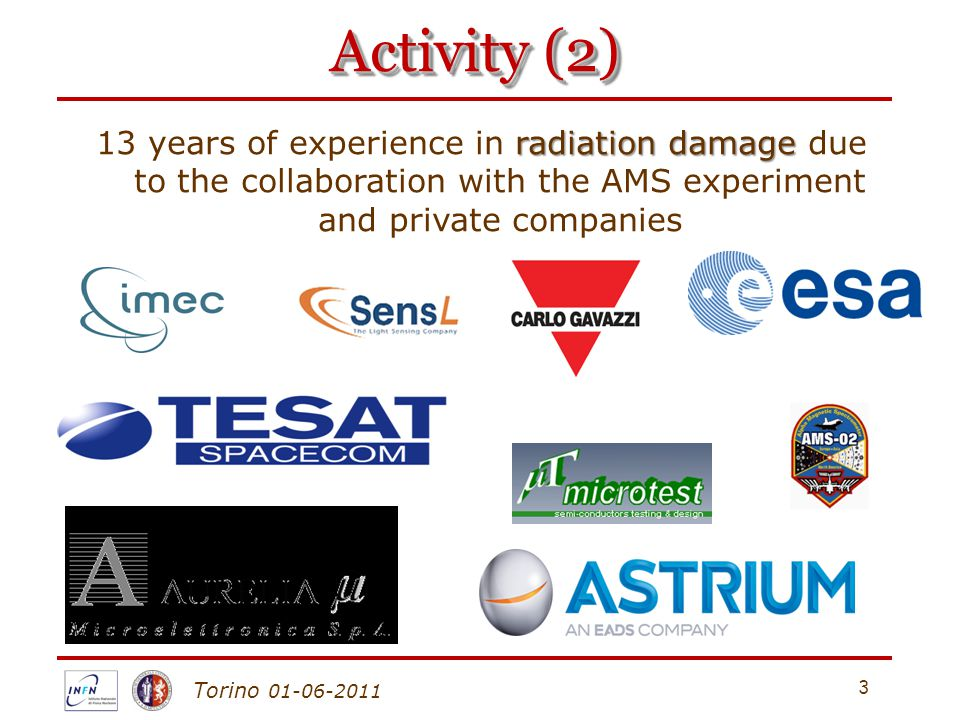 Torino 01-06-2011 Activity (2) 3 radiation damage 13 years of experience in radiation damage due to the collaboration with the AMS experiment and priv