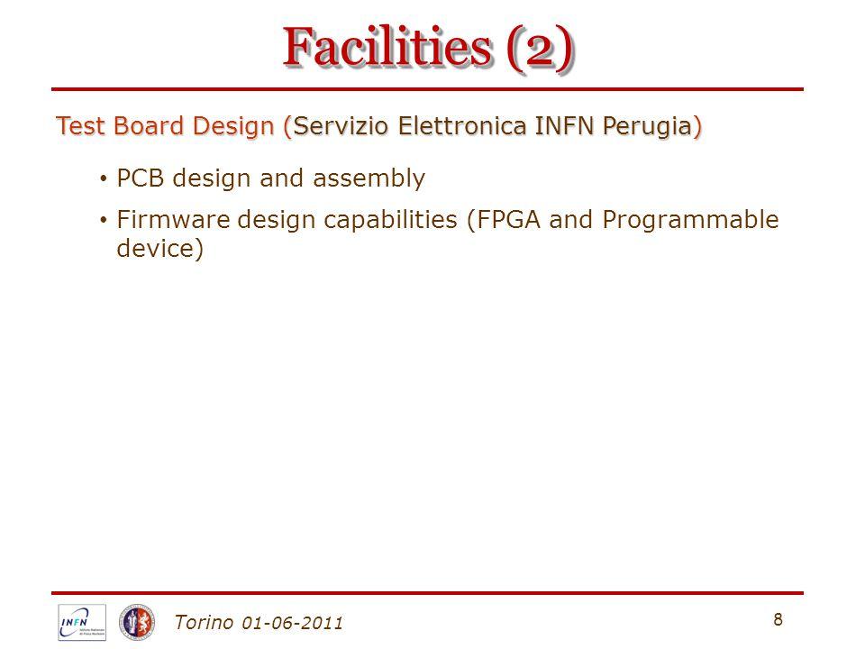 Torino 01-06-2011 8 Facilities (2) Test Board Design (Servizio Elettronica INFN Perugia) PCB design and assembly Firmware design capabilities (FPGA and Programmable device)