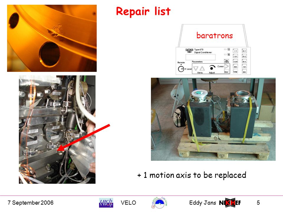 7 September 2006VELOEddy Jans 5 baratrons Repair list + 1 motion axis to be replaced