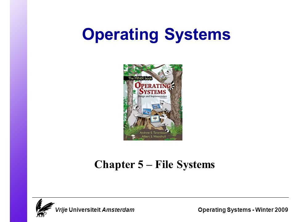 Chap 5 - Overview Operating Systems 2009 Vrije Universiteit AmsterdamSlide 1 Files Directories File system implementation Security MINIX filesystem