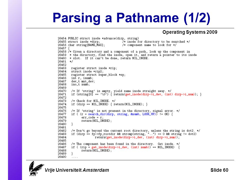 Parsing a Pathname (1/2) Operating Systems 2009 Vrije Universiteit AmsterdamSlide 60