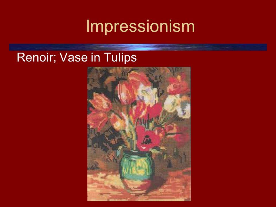 Impressionism Renoir; Vase in Tulips