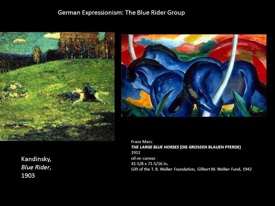 Franz Marc THE LARGE BLUE HORSES (DIE GROSSEN BLAUEN PFERDE) 1911 oil on canvas 41-5/8 x 71-5/16 in.