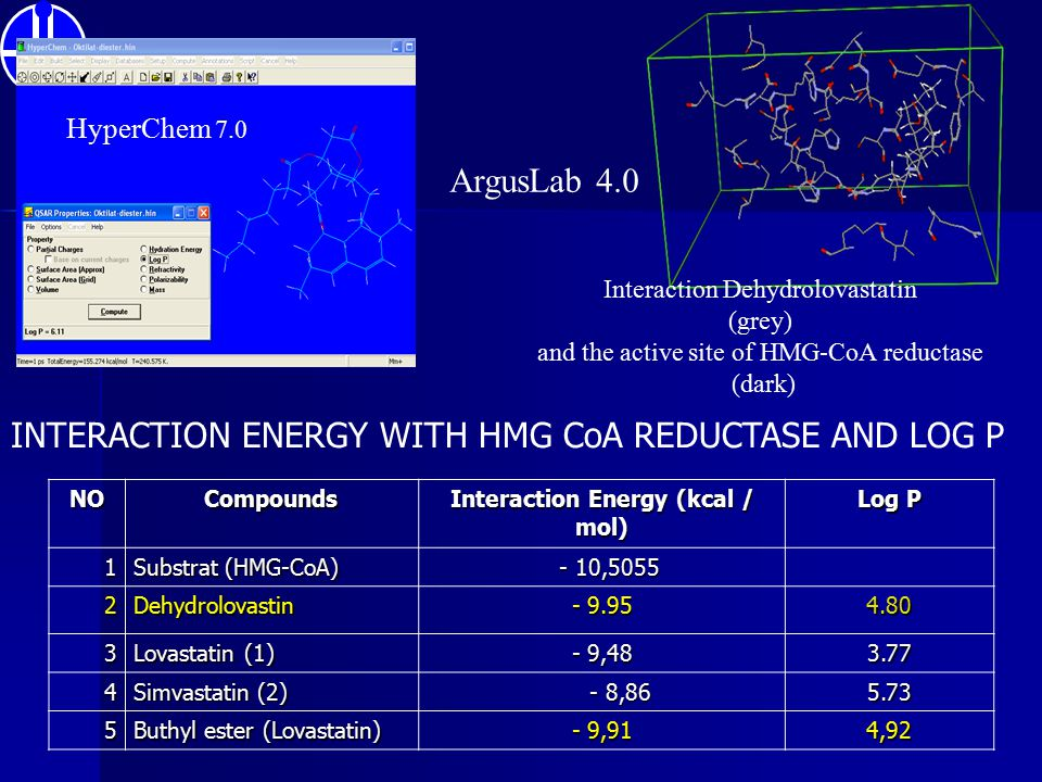 Interaction Dehydrolovastatin (grey) and the active site of HMG-CoA reductase (dark)NOCompounds Interaction Energy (kcal / mol) Log P 1 Substrat (HMG-