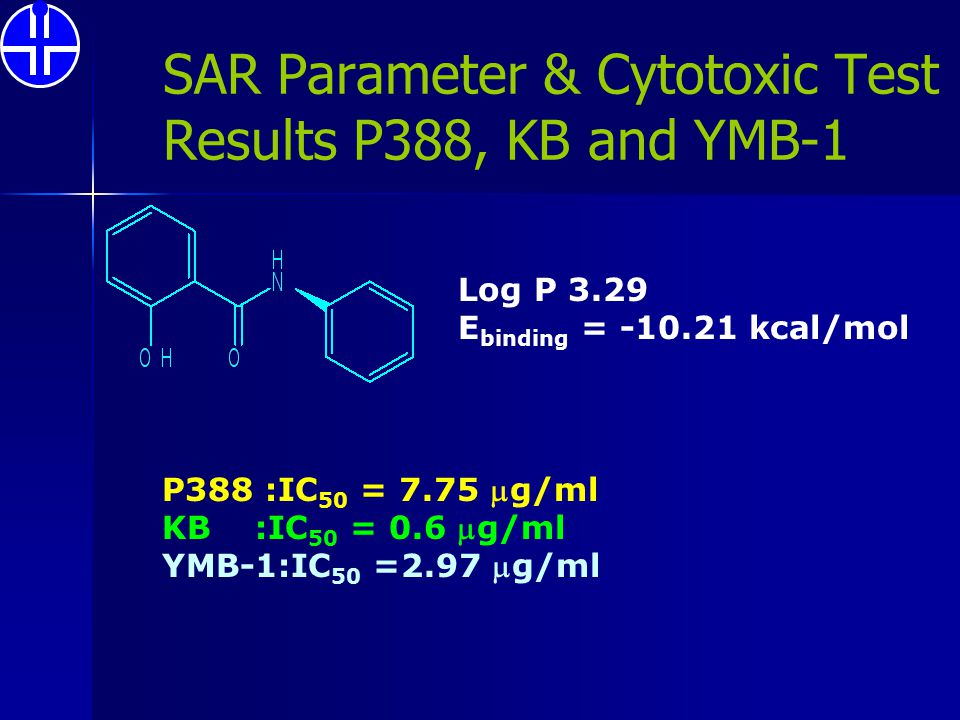 SAR Parameter & Cytotoxic Test Results P388, KB and YMB-1 P388 :IC 50 = 7.75 g/ml KB :IC 50 = 0.6 g/ml YMB-1:IC 50 =2.97 g/ml Log P 3.29 E binding