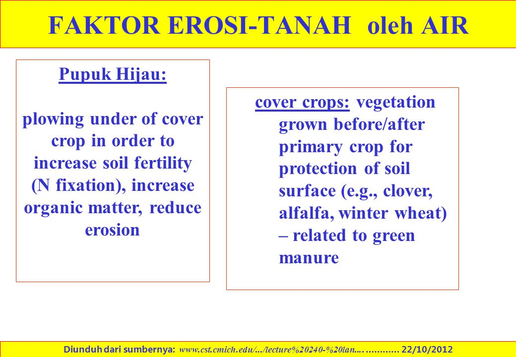 cover crops: vegetation grown before/after primary crop for protection of soil surface (e.g., clover, alfalfa, winter wheat) – related to green manure
