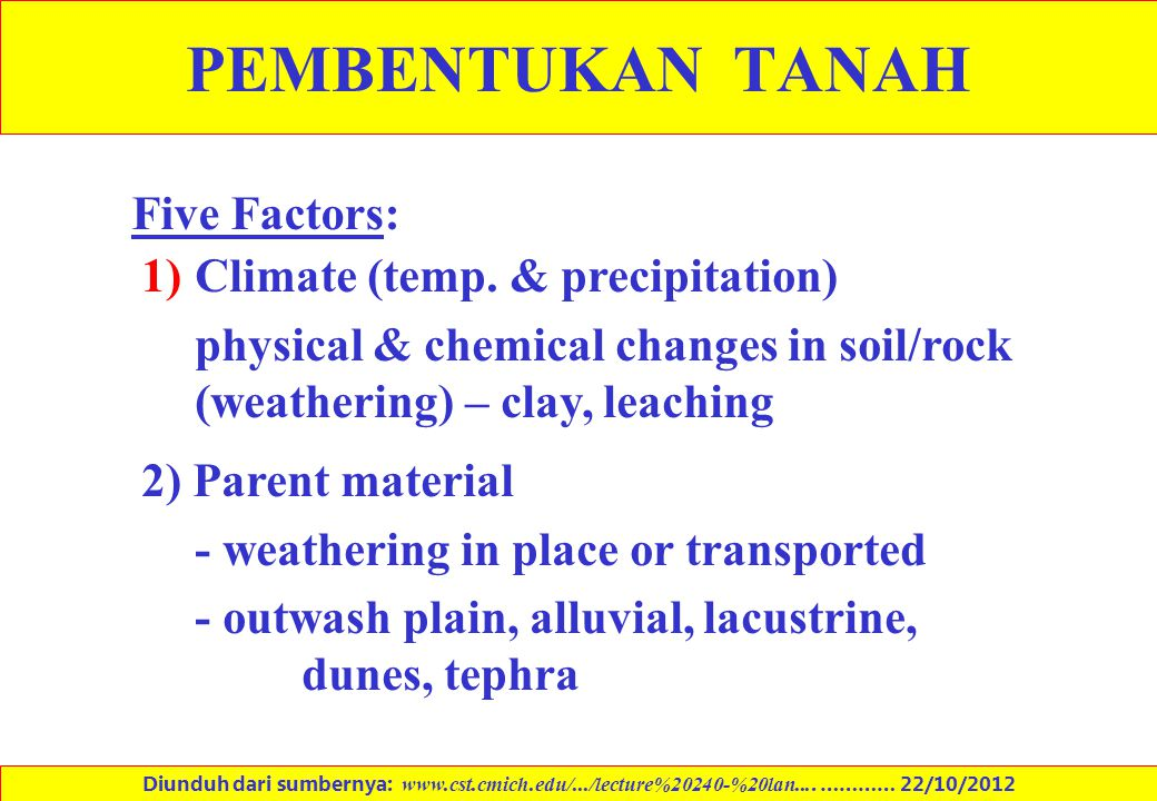 PEMBENTUKAN TANAH Five Factors: 1)Climate (temp. & precipitation) physical & chemical changes in soil/rock (weathering) – clay, leaching 2) Parent mat