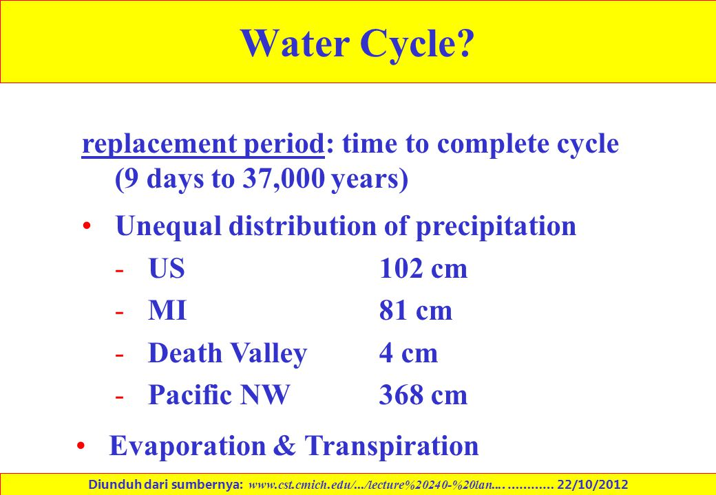 Water Cycle? replacement period: time to complete cycle (9 days to 37,000 years) Unequal distribution of precipitation -US 102 cm -MI 81 cm -Death Val