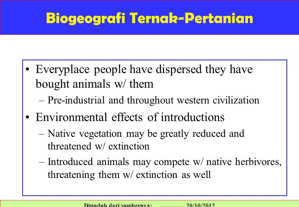 Biogeografi Ternak-Pertanian Everyplace people have dispersed they have bought animals w/ them –Pre-industrial and throughout western civilization Env