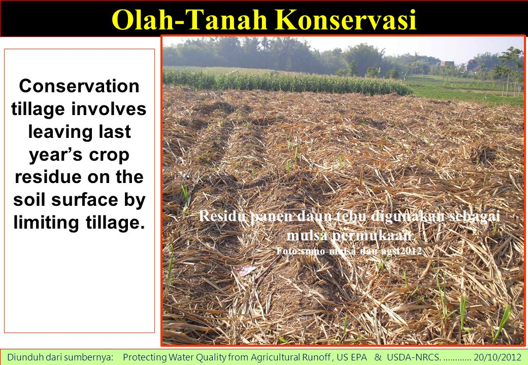 Olah-Tanah Konservasi Conservation tillage involves leaving last year's crop residue on the soil surface by limiting tillage. Diunduh dari sumbernya: