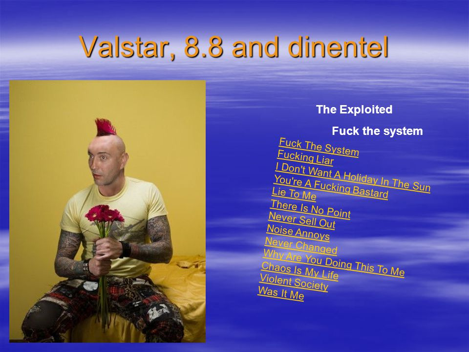 Valstar, 8.8 and dinentel Fuck The System Fucking Liar I Don t Want A Holiday In The Sun You re A Fucking Bastard Lie To Me There Is No Point Never Sell Out Noise Annoys Never Changed Why Are You Doing This To Me Chaos Is My Life Violent Society Was It Me The Exploited Fuck the system