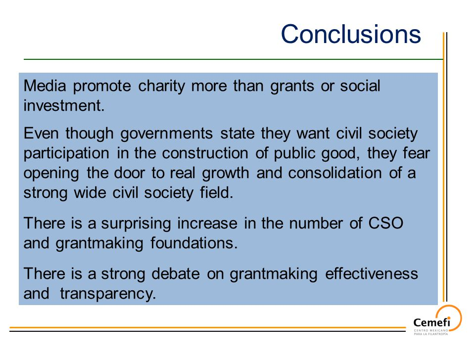 Conclusions Media promote charity more than grants or social investment.