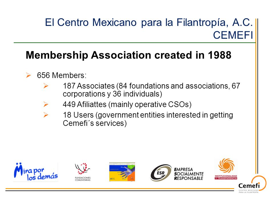  656 Members:  187 Associates (84 foundations and associations, 67 corporations y 36 individuals)  449 Afiliattes (mainly operative CSOs)  18 Users (government entities interested in getting Cemefi´s services) Membership Association created in 1988 El Centro Mexicano para la Filantropía, A.C.