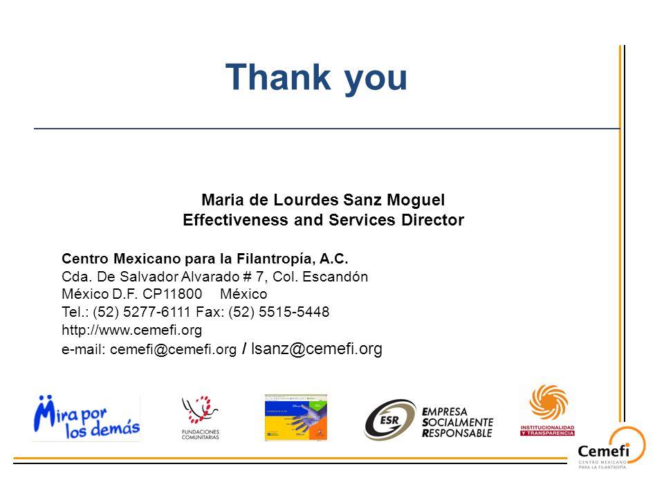 Maria de Lourdes Sanz Moguel Effectiveness and Services Director Centro Mexicano para la Filantropía, A.C. Cda. De Salvador Alvarado # 7, Col. Escandó