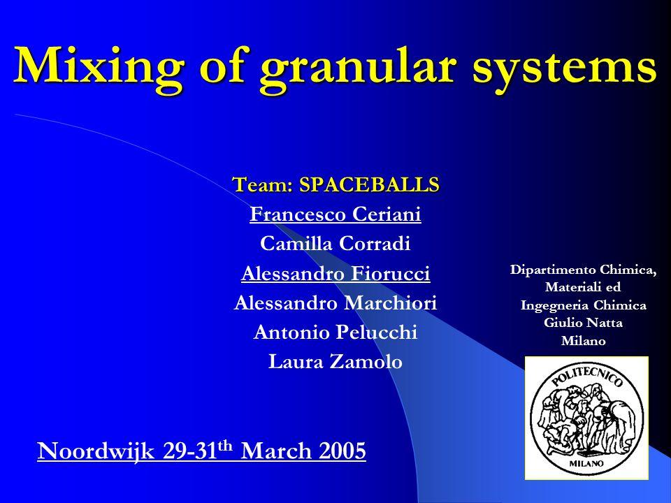 Mixing of granular systems Team: SPACEBALLS Francesco Ceriani Camilla Corradi Alessandro Fiorucci Alessandro Marchiori Antonio Pelucchi Laura Zamolo N