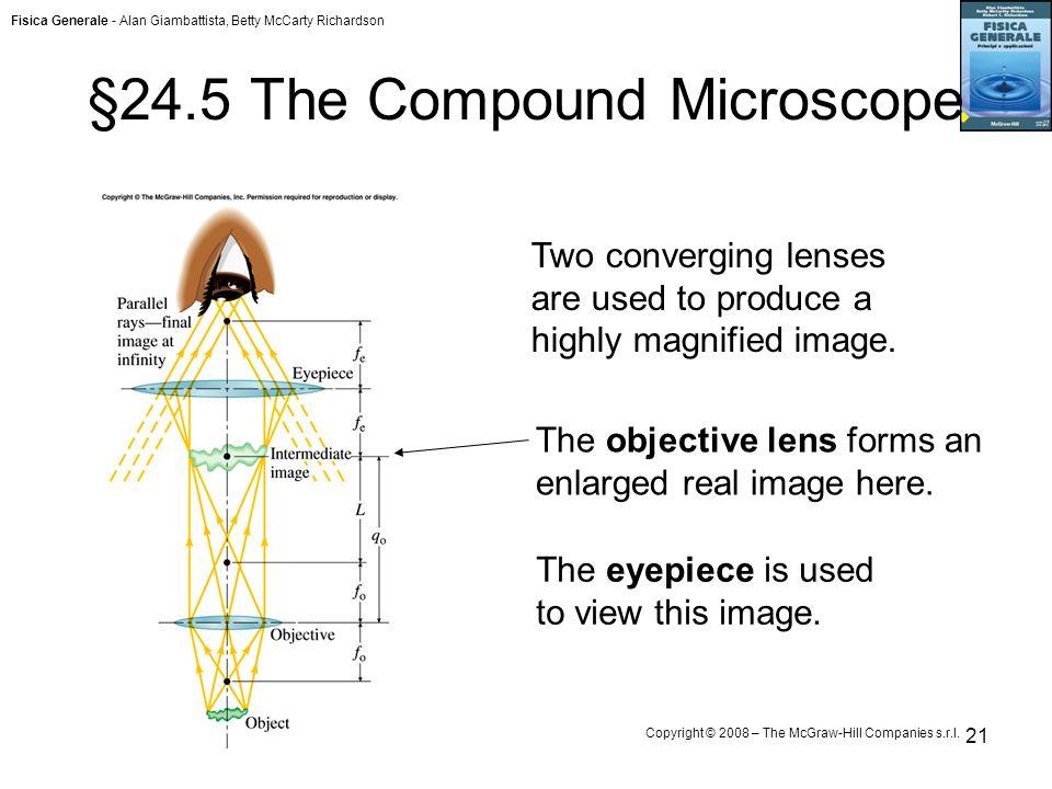 Fisica Generale - Alan Giambattista, Betty McCarty Richardson Copyright © 2008 – The McGraw-Hill Companies s.r.l. 21 §24.5 The Compound Microscope The