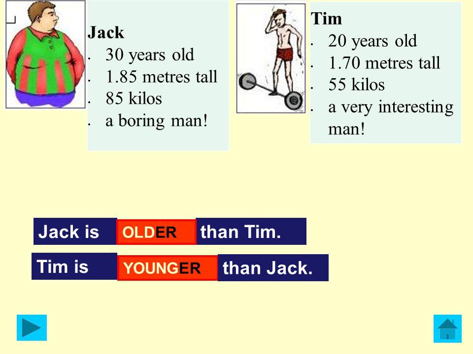 Jack isthan Tim.TALLER Tim is SHORTER than Jack.